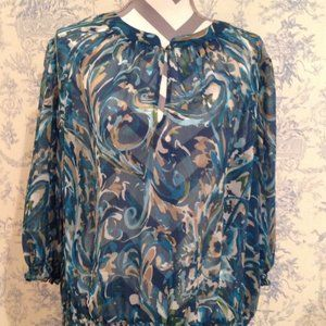 A.N.A. Women's Blouse Sheer Blue and Green Size 2X